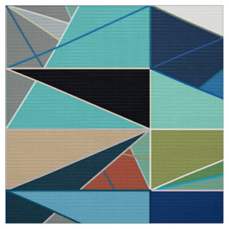 Mid-Century Modern Abstract, Turquoise & Neutrals Fabric