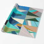 Mid-Century Modern Abstract, Turquoise & Neutrals Wrapping Paper