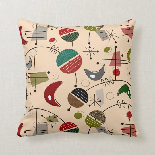 Mid-Century Modern Atomic Abstract in Cream Throw Pillow