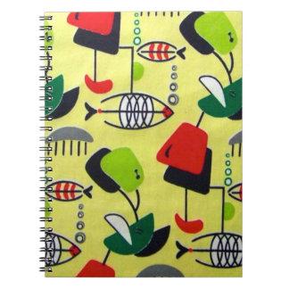 Mid Century Modern Atomic Design Spiral Notebook