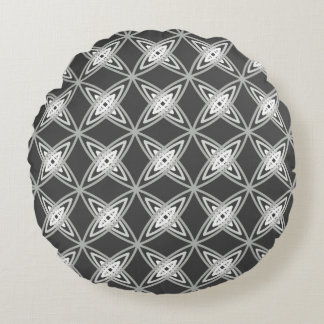 Mid Century Modern Atomic Print - Charcoal Gray Round Pillow