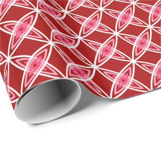 Mid Century Modern Atomic Print - Dark Red Wrapping Paper