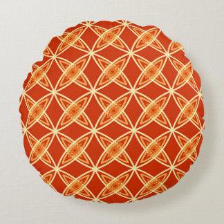 Mid Century Modern Atomic Print - Mandarin Orange Round Pillow