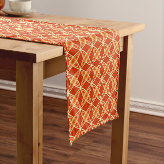 Mid Century Modern Atomic Print - Mandarin Orange Short Table Runner