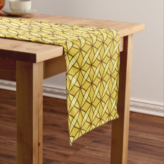 Mid Century Modern Atomic Print - Mustard Gold Short Table Runner