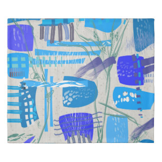 Mid-Century Modern Blue Abstract Duvet Cover