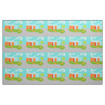 Mid Century Modern Cartoon House Fabric