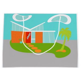 Mid Century Modern Cartoon House Gift Bag