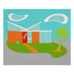 Mid Century Modern Cartoon House Poster