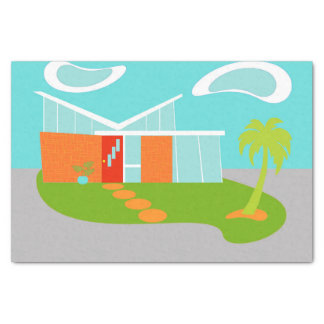 Mid Century Modern Cartoon House Tissue Paper