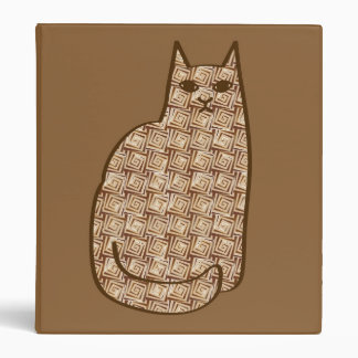 Mid-Century Modern Cat, Beige and Light Brown 3 Ring Binders