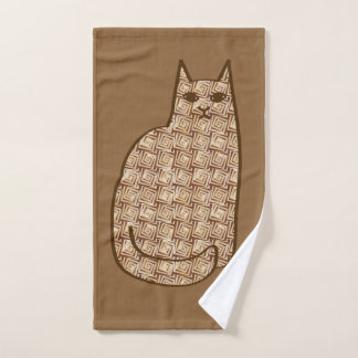 Mid-Century Modern Cat, Beige and Light Brown Bath Towel Set