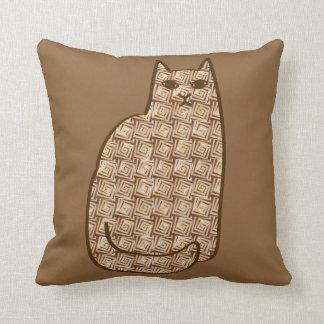 Mid-Century Modern Cat, Beige and Light Brown Throw Pillow