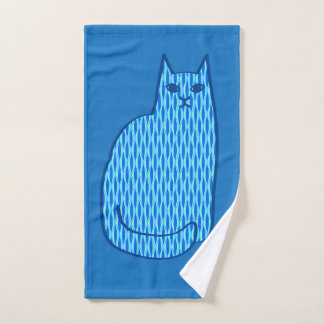 Mid-Century Modern Cat, Cobalt and Light Blue Bath Towel Set