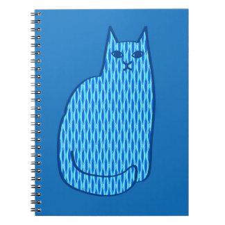 Mid-Century Modern Cat, Cobalt and Light Blue Notebook