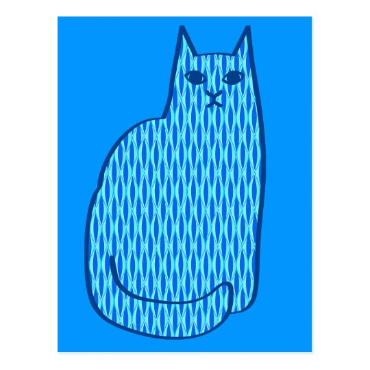 Mid-Century Modern Cat, Cobalt and Light Blue Postcard