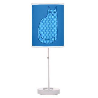 Mid-Century Modern Cat, Cobalt and Light Blue Table Lamp