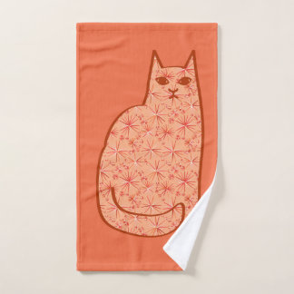 Mid-Century Modern Cat, Coral Orange and White Bath Towel Set