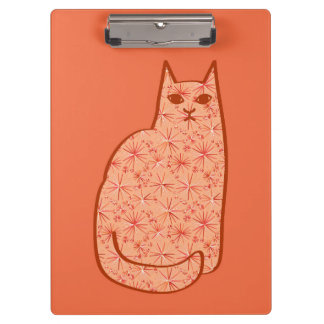 Mid-Century Modern Cat, Coral Orange and White Clipboard