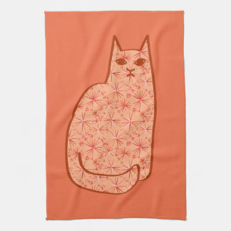 Mid-Century Modern Cat, Coral Orange and White Hand Towels
