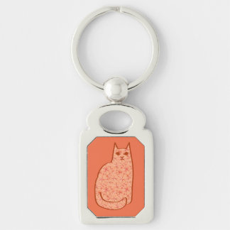 Mid-Century Modern Cat, Coral Orange and White Silver-Colored Rectangle Keychain