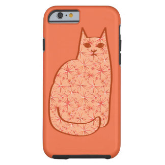Mid-Century Modern Cat, Coral Orange and White Tough iPhone 6 Case