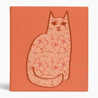 Mid-Century Modern Cat, Coral Orange and White Vinyl Binders