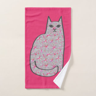 Mid-Century Modern Cat, Fuchsia and Light Pink Bath Towel Set