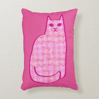 Mid-Century Modern Cat, Fuchsia and Light Pink Decorative Pillow