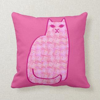 Mid-Century Modern Cat, Fuchsia and Light Pink Throw Pillow