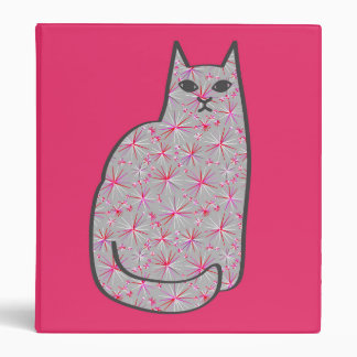 Mid-Century Modern Cat, Gray / Grey and Pink 3 Ring Binder