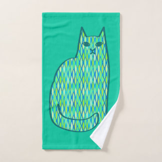 Mid-Century Modern Cat, Mint and Lime Green Bath Towel Set