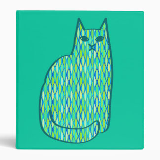 Mid-Century Modern Cat, Mint and Lime Green Binders