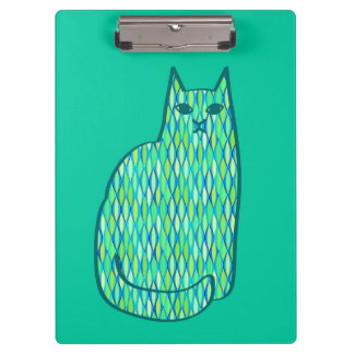 Mid-Century Modern Cat, Mint and Lime Green Clipboard