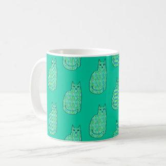 Mid-Century Modern Cat, Mint and Lime Green Coffee Mug