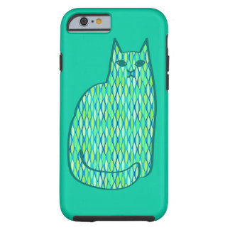 Mid-Century Modern Cat, Mint and Lime Green Tough iPhone 6 Case
