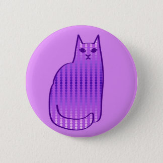 Mid-Century Modern Cat, Orchid and Purple 2 Inch Round Button