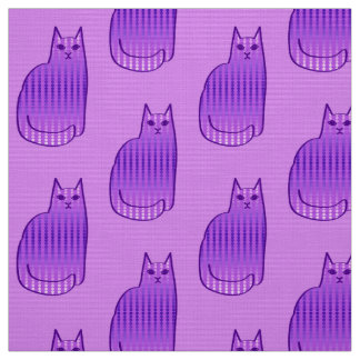 Mid-Century Modern Cat, Orchid and Purple Fabric