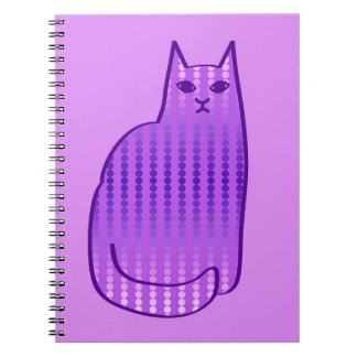 Mid-Century Modern Cat, Orchid and Purple Spiral Notebook