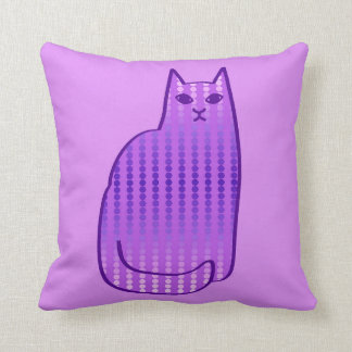 Mid-Century Modern Cat, Orchid and Violet Purple Throw Pillow