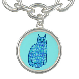 Mid-Century Modern Cat, Turquoise and Navy Charm Bracelet
