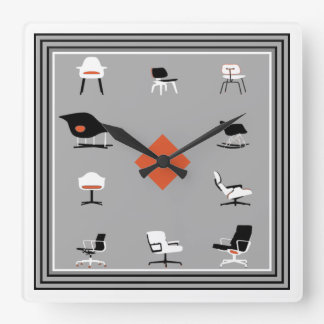 Mid Century Modern Chairs Retro Colours Square Wall Clock
