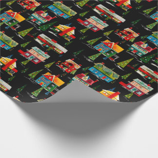 Mid Century Modern Christmas Houses Wrapping Paper