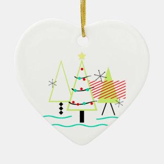 mid century modern christmas trees retro ceramic ornament
