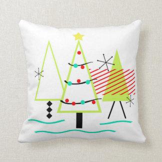 mid century modern christmas trees retro throw pillow