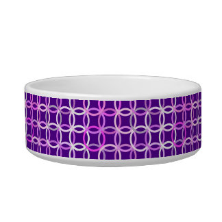 Mid-Century Modern circles, amethyst and orchid Pet Water Bowl