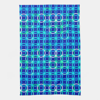 Mid-Century Modern circles, cobalt & peacock Kitchen Towel