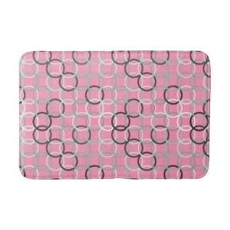 Mid-Century Modern circles, coral pink and grey Bath Mat