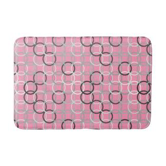 Mid-Century Modern circles, coral pink and grey Bathroom Mat