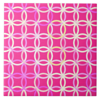 Mid-Century Modern circles, fuchsia pink and cream Tile